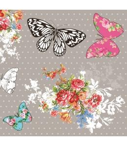 "Салфетка для декупажа SLOG032501 ""Букет и бабочки"", 33х33 см, POL-MAK"