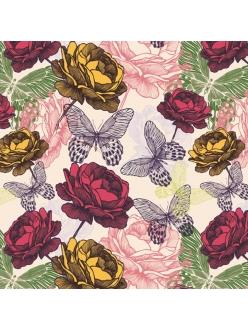 Салфетка для декупажа Розы и бабочки, 33х33 см, POL-MAK