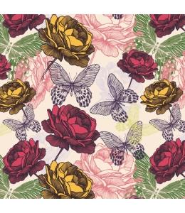 "Салфетка для декупажа SLOG032701 ""Розы и бабочки"", 33х33 см, POL-MAK"