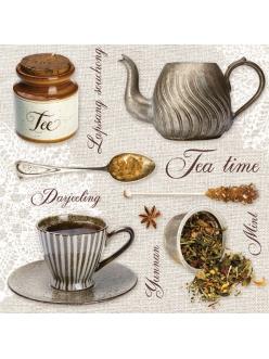 Салфетка для декупажа Время чая, 33х33 см, POL-MAK