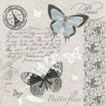 "Салфетка для декупажа SLOG041101 ""Бабочки, текст и орнамент"", 33х33 см, POL-MAK"