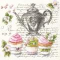 """Салфетка для декупажа SLOG041201 """"Чай, пирожные и текст"""", 33х33 см, POL-MAK"""