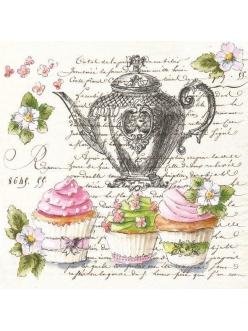 Салфетка для декупажа Чай, пирожные и текст, 33х33 см, POL-MAK