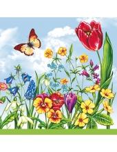 "Салфетка для декупажа SLWI000301 ""Весенние цветы"", 33х33 см"