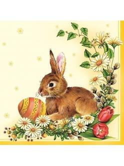 Салфетка для декупажа Пасхальный кролик, 33х33 см, POL-MAK