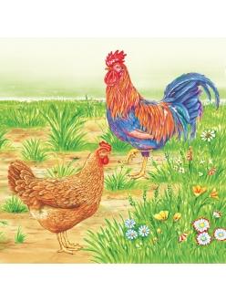 Салфетка для декупажа Петух и курица, 33х33 см, POL-MAK