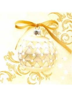 "Салфетка для декупажа PW-5296 ""Шары и орнамент на золотом фоне"", 33х33 см"