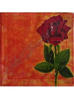 """Салфетка для декупажа, S0074, """"Роза на оранжевом фоне"""", 33х33 см"""