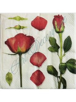 Салфетка для декупажа Роза на длинном стебле, 33х33 см