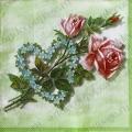 "Салфетка для декупажа IHR-310828 ""Роза, сердце из цветов"", 33х33 см, Германия"