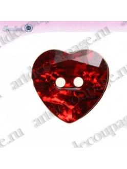 Декоративные пуговицы стразы Сердце, красный, 3 шт по 32 мм, HEMLINE