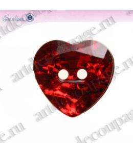 """Декоративные пуговицы стразы """"Сердце"""", красный, 3 шт по 32 мм, HEMLINE"""