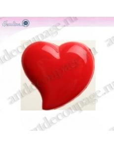 """Декоративные пуговицы """"Сердце"""", красный пластик, 4 шт по 18 мм, HEMLINE"""