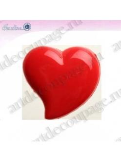 Декоративные пуговицы Сердце, красный пластик, 4 шт по 18 мм, HEMLINE