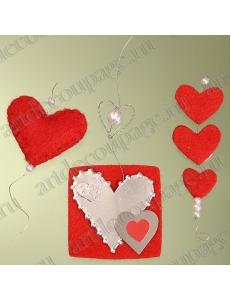 """Наклейки декоративные объемные """"Красные сердечки"""", фетр и металл, KNORR prandell"""