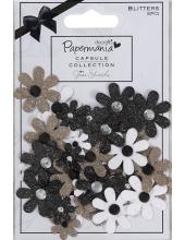Набор декоративных цветов с блестками и стразами, Bexley Black, 50 шт, Papermania