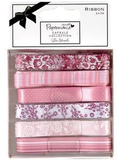 Набор лент для скрапбукинга Parkstone Pink, розовые, 6 штук по 1 м, DoCrafts
