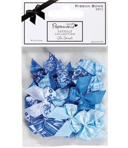 Набор бантиков, синий и голубой цвет, коллекция Burleigh Blue, 20 штук, DoCrafts