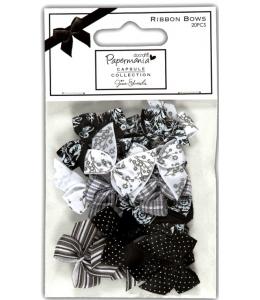 Набор бантиков черно-белых, коллекция Bexley Black 20 штук, DoCrafts