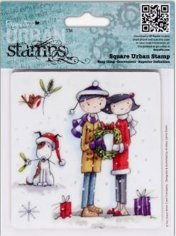 "Штамп резиновый Tulip Christmas ""Белая омела"", 9,5х9,5 см, DoCrafts"