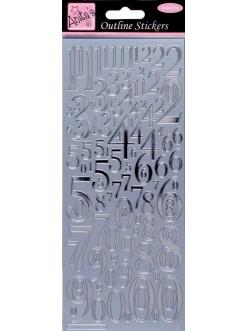 """Наклейки контурные ANT 8101013 """"Цифры разных размеров"""", серебро, Anita`s"""