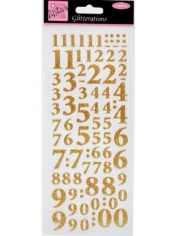 Наклейки контурные с блестками Цифры, мерцающее золото, Anita`s