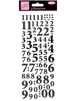 Наклейки контурные с блестками  для скрапбукинга Цифры, цвет черный с глиттером, Anita`s