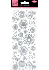 """Наклейки контурные с блестками """"Цветочки и узоры"""", белые с серебряным контуром, Anita`s"""