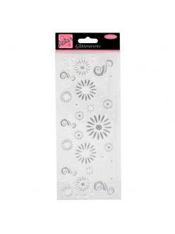Наклейки контурные с блестками ANT 8181022 Цветочки и узоры, серебряные с белам контуром