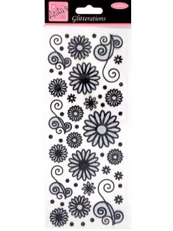 Наклейки контурные с блестками ANT 8181023 Цветочки и узоры, цвет черный и белый глиттер
