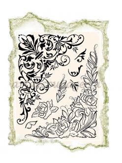 Штампы силиконовые  Уголки, цветочный орнамент,14х18 см, Viva-Silikon-Stempel D04