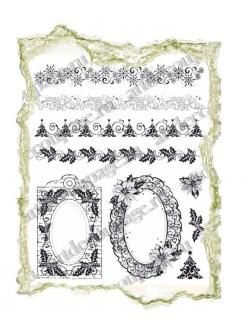 Штампы силиконовые Viva Silikon Stempel D09  Новогодние рамки и бордюры, 14х18 см, Германия