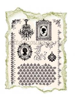 Штампы силиконовые Viva Decor Silikon Stempel D15 Люстра, портреты, орнамент,14х18 см