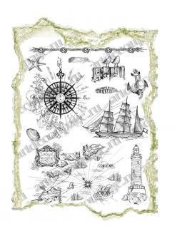 Штампы силиконовые Viva Silikon Stempel D19 Море, маяк, корабль,14х18 см, Германия