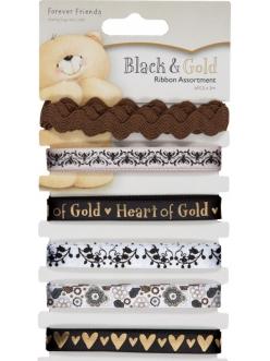 Набор декоративных лент Forever Friends, черно-золотой, Docrafts