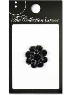 """Декоративные пуговицы со стразами """"Черный цветок"""" (Black Flowers), серия La Mode, Button Fashion"""