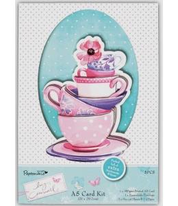 Набор для изготовления открытки  Чашки, коллекция Lucy Cromwell, DoCrafts,14,8х21 см