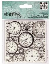 """Штамп резиновый на пластиковой основе PMA 907138 """"Время, часы"""" Papermania, 94х98 мм"""