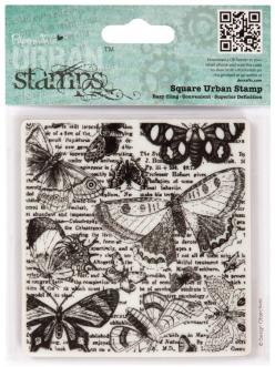 Штамп резиновый на пластиковой основе Бабочки и текст, 94х98 мм