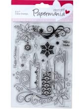 """Набор новогодних силиконовых штампов """"Новогодние свечи"""", Papermania, 13х18 см"""