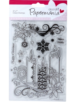 Набор новогодних силиконовых штампов Новогодние свечи, Papermania, 13х18 см