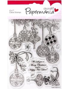 """Набор новогодних силиконовых штампов """"Ёлочные игрушки"""", 13х18 см, Papermania"""