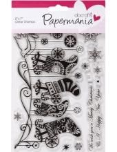 """Набор новогодних силиконовых штампов """"Рождественские носки"""", Papermania"""