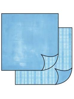 Бумага для скрапбукинга двусторонняя Голубая клетка, Stamperia, 31,2х30,3 см