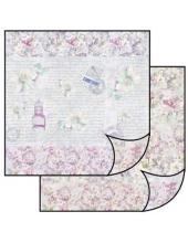 "Бумага для скрапбукинга двусторонняя ""Цветы и текст"", Stamperia, 31,2х30,3 см"