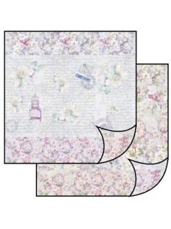 Бумага для скрапбукинга двусторонняя Цветы и текст, Stamperia, 31,2х30,3 см