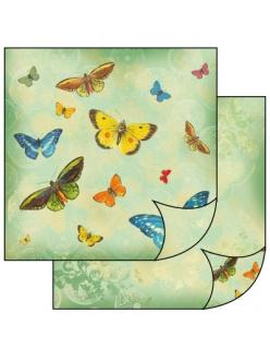 Бумага для скрапбукинга двусторонняя Бабочки, Stamperia, 31,2х30,3 см