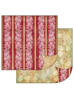 Бумага для скрапбукинга Бордюры с розами, орнамент, Stamperia, 31,2х30,3 см