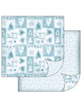 "Бумага для скрапбукинга двусторонняя ""Голубые сердечки"", 31,2х30,3 см, Stamperia"