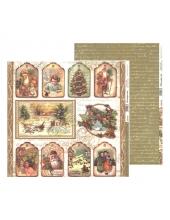 "Бумага для скрапбукинга двусторонняя ""Дед Мороз и дети"", Stamperia, 31,2х30,3 см"